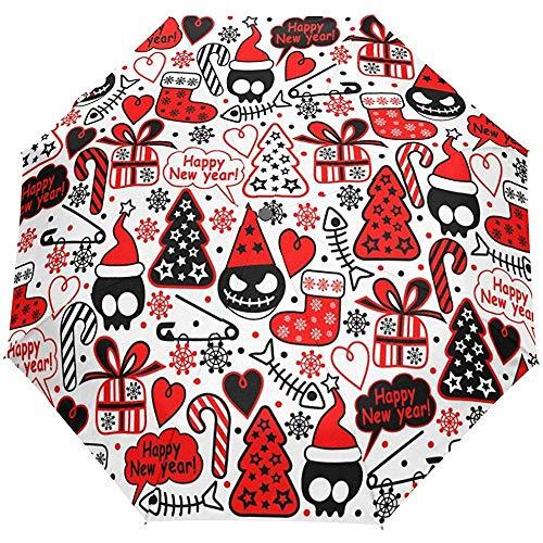 Weihnachten Neujahr Winter Roter Schädel Baum Boo Auto Öffnen Schließen Regenschirme Anti UV Folding Compact Automatic Umbrella