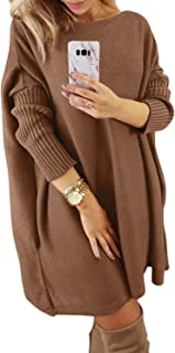 Women's Oversized Loose Casual Long Pullover Sweaters Dress Jumper