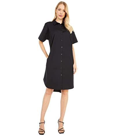 Eileen Fisher Classic Collar Dress (Black) Women