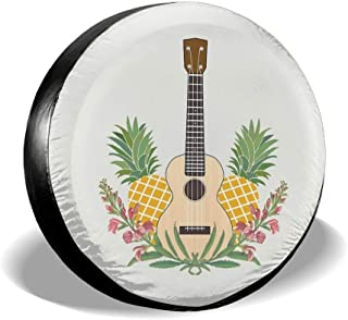 Yunilya Pineapple Flowers Ukulele Tire Cover Polyester Universal Sunscreen Waterproof Wheel Covers for Jeep Trailer RV SUV...