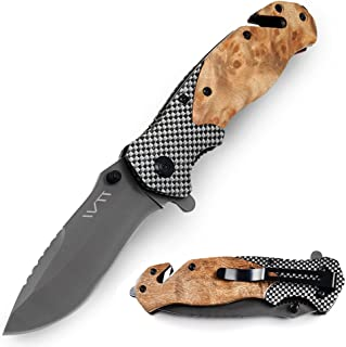 Hunting Folding Knife with Seat Belt Cutter and Slotted Screwdriver for Survival Camping Tactical, Gray Titanium Coating Blade and Wood Handle WTT