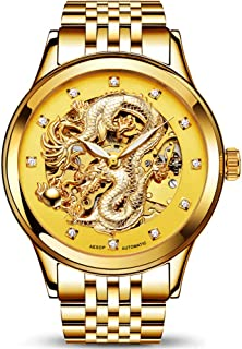 Men's 'Dragon Collection' Luxury Carved Dial Automatic Mechanical Waterproof Gold Watch