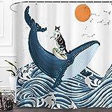Baccessor Duschvorhang Ocean Great Wave Funny Cat Wal Vintage Creative Kanagawa Japanese Art Funny Waterproof Fabric Bath Curtain with Hooks Bathroom Home Decoration 152,4 x 182,9 cm