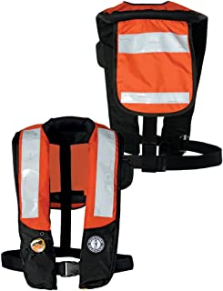 Mustang Deluxe Auto Inflatable PFD w/SOLAS Reflective Tape - Orange/Black MD3183T2-OR/BK