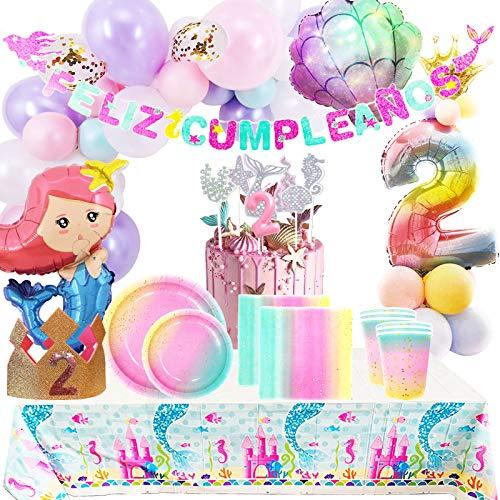 cotigo Pack de Artículos para Fiestas Cumpleaños 2 Años-Decoraciones de Globos y Guirnalda Feliz Cumpleaños,Kit de Vajilla Desechable Macaron y Accesorios de Mesa-Temática Sirena,para Niñas