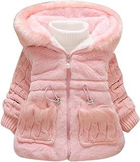 Boys Girls Puffer Lightweight Jacket for 1-5T, 🎅 Toddler Solid Plush Winter Coat with Faux Fur Hood Zipper Outwear