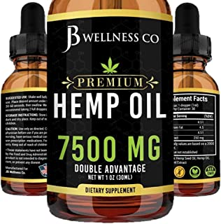Hemp Oil 7500mg - Natural and Safe Hemp Oil - Pain & Stress Relief - Powerful for Ingestible & Topical Use - Non-GMO - Pla...