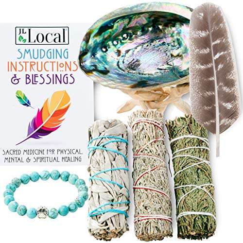 JL Local 3 Sage Smudging Kit - White Sage, Blue Sage & Cedar | Smudge Kit with Abalone Shell, Stand, Instructions, Blessings & Turquoise Bracelet (White, Blue & Cedar)
