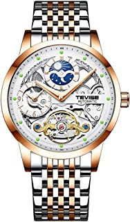 TEVISE Men Automatic Mechanical Watch Time & Moon Phase Display Luminous Pointer 30M Waterproof Male Fashion Wristband for...