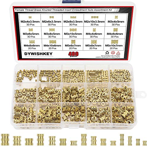 DYWISHKEY 400 Pieces M2 M3 M4 M5 Female Thread Knurled Nuts Brass Threaded Insert Embedment Nuts Assortment Kit
