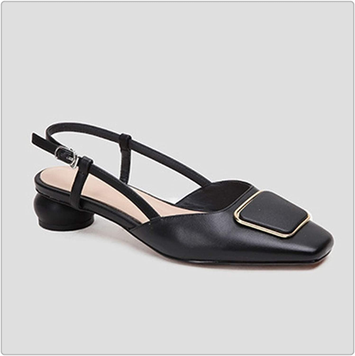 KKEPO& 2019 New Spring Summer Square Toe Shallow Pu Leather Buckle Strap StrangeHigh Heels Sandals Women Fashion Tide 10SJ460 Black 38