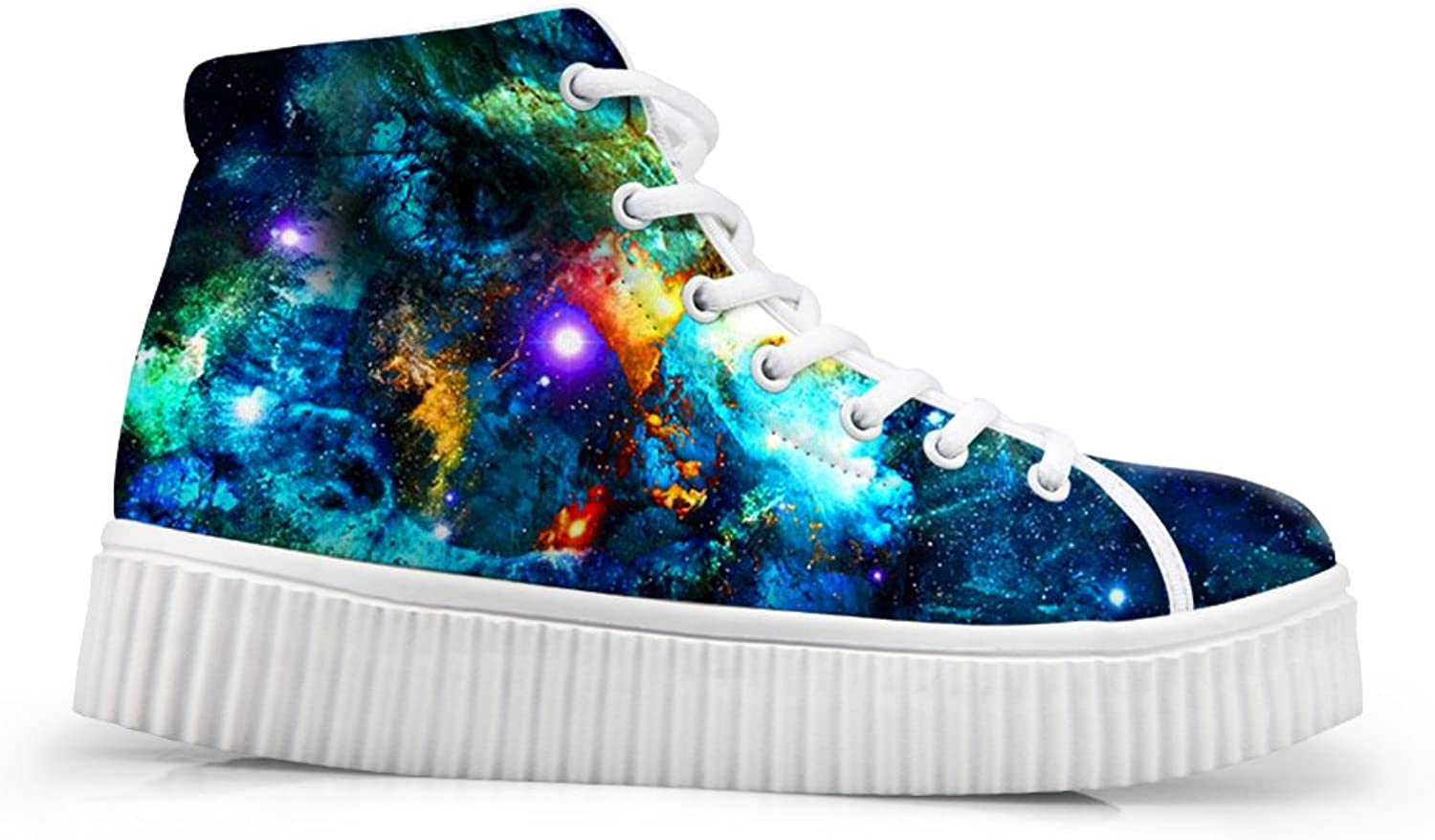 Mumeson Women High Top Sneaker colorful Galaxy Print Lace-up Casual Platform shoes