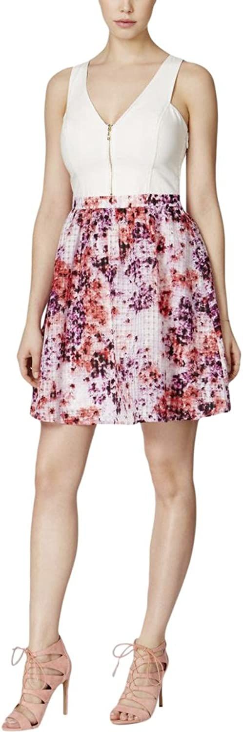 GUESS Womens Organza Floral Print Casual Dress