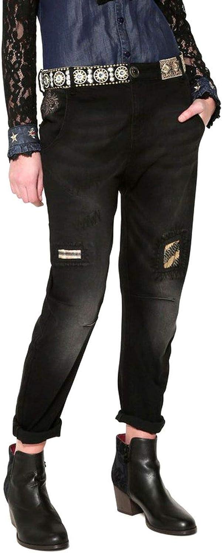 Desigual Women's 17WWDD34BLACK Black Cotton Jeans