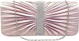 Fenical Abend Clutch Strass Plissee Abendtasche Fashion Chain Clutch Handtasche für Frauen Mädchen (Apricot)