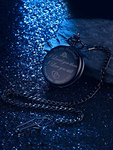 Pangda Pocket Watch Men Watch Engraved Pocket Watch to Gift for Husband on Anniversary