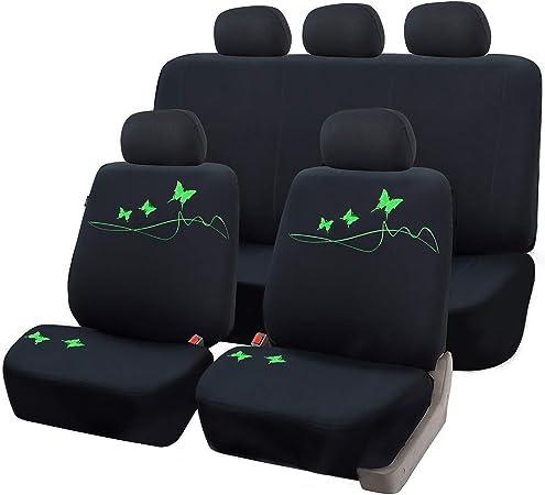 Esituro Universal Sitzbezüge Für Auto Schonbezug Komplettset Mit Schmetterling Schwarz Grün Scsc0098 Auto