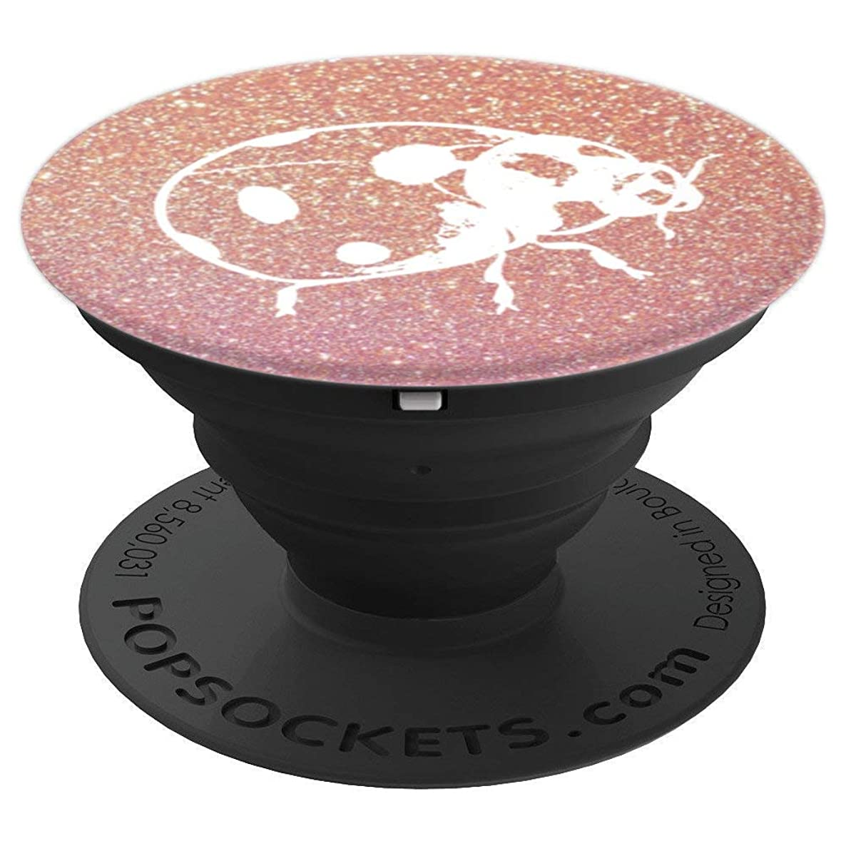 Cute White Ladybug on Rose Gold Background - PopSockets Grip and Stand for Phones and Tablets
