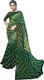 فستان نسائي هندي أخضر للحفلات من مجموعة كوكتيل ستايل جورجيت ساري مع بلوزة بتصميم فاخر 6051