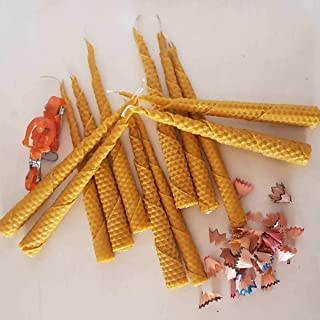PRATHA Bee Happy Prayer Christmas and Altar Candle – Pack of 12 - Beeswax Candles , Handmade Candles