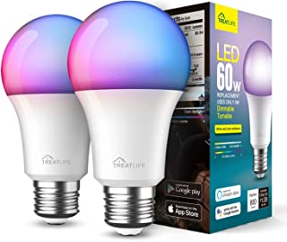 لامپ های هوشمند 2 بسته ، لامپ های تغییر رنگ ، همگام سازی Treatlife Music Sync ، با الکسا ، دستیار Google ، A19 E26 9W 800 Lumen LED لامپ هوشمند قابل تنظیم برای دکوراسیون مهمانی ، روشنایی خانه هوشمند کار می کند
