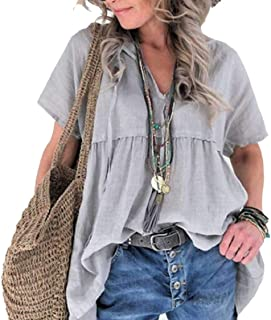 Frieed Women's Solid Short Sleeve V Neck Tops Plus Size Loose Blouse T-shirts