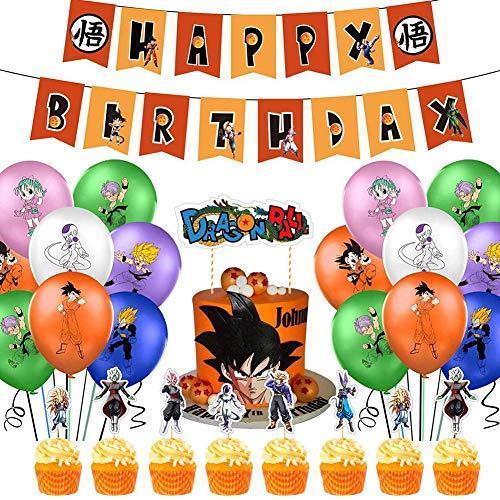 Decoraciones de Fiesta Dragon Ball Theme Party Decoration Set Dragon Ball Game Suministros de Fiesta Incluye Banner de Feliz Cumpleaños Globos Cake Topper para Niños Adolescentes Dragon Ball Fans