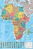 Close Up Póster Mapa de África con Todas Sus Banderas (61cm x 91,5cm) + 2 Marcos...