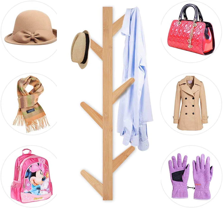 Bamboo Coat Rack Modern Wall Mounted Tree Coat Rack 6 Hooks for Hats Towels hat Rack Scarves Clothes Handbags entryway Hanger Bedroom Bathroom Robe Racks - Durable Easy Assembly Yellow