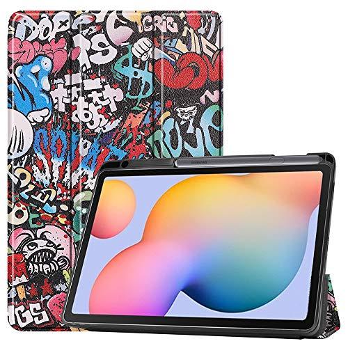 Capa ESSTORE-EU para Samsung Galaxy Tab S6 Lite 10,4 polegadas 2020 (modelo SM-P610/P615), capa inteligente de três dobras à prova de choque com [hibernar/despertar automático] [suporte para caneta S], grafite