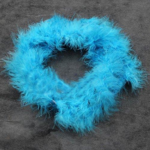 Ukallaite 2m Federboa, flauschige, dressup für Junggesellinnenabschied, Kostüm, Fasching, Feder, blau, Einheitsgröße