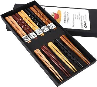 MFJUNS 5-Pairs Set of Chopsticks, Wood Chopsticks and Minimalism Japanese Chopsticks Gift Set