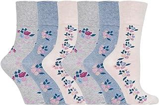 NEW: 6 Pairs Ladies Gentle Grip No Elastic Socks 4-8 uk, 37-
