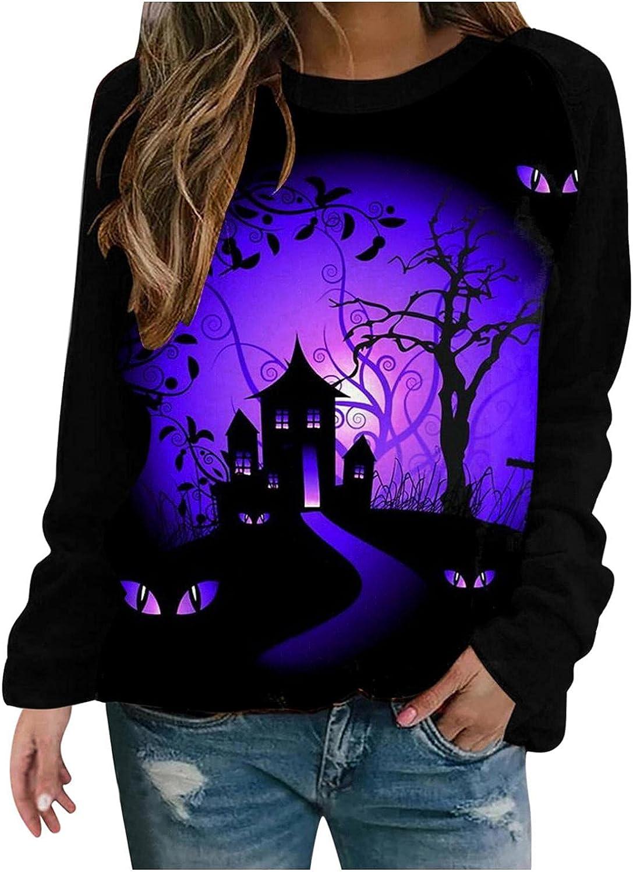 Women's O-Neck Long Sleeve Pullover Charlotte Mall Cat Jacksonville Mall Black Halloween Pumpkin