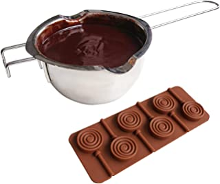 Acronde Stainless Steel Universal Melting Pot with Silicone Lollipop Chocolate Mold Universal Double Boiler Insert for Melting Chocolate, Candy, Butter and Candle Making