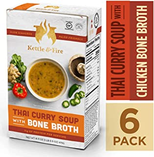 Thai Curry Soup with Chicken Bone Broth by Kettle and Fire, Pack of 6, Paleo, Gluten Free Collagen Soup on the Go, 11g of protein, 16.9 fl oz
