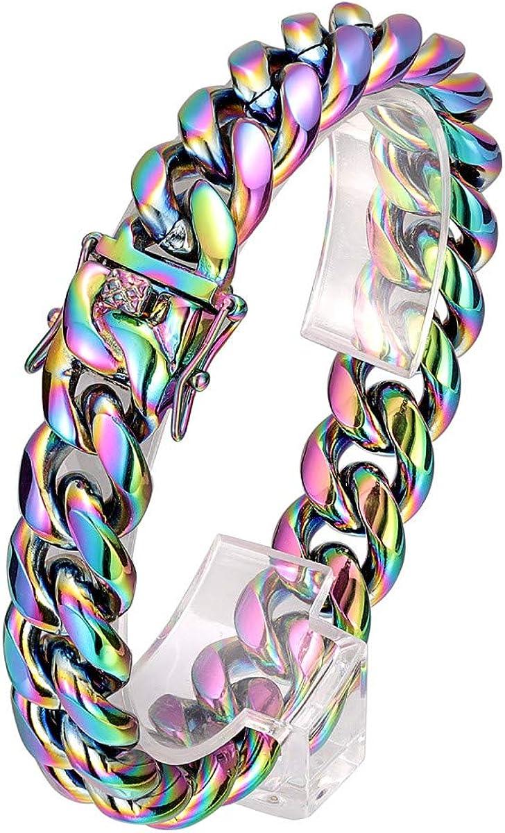 ROWINCO Sturdy Miami Denver Mall Cuban Bracelet free Rainbow Mens Black Chain
