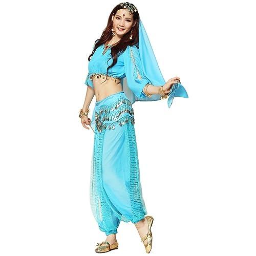 aa916cdb72c60 Best Dance Women s Belly Dance Costume 3-Pieces Lanterns Sleeves Top Harem  Pants Hip Scarf