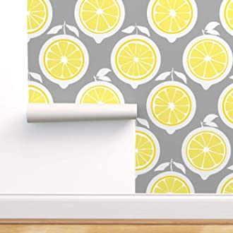 Removable Water-Activated Wallpaper Lemon Yellow Floral White Mod Midcentury