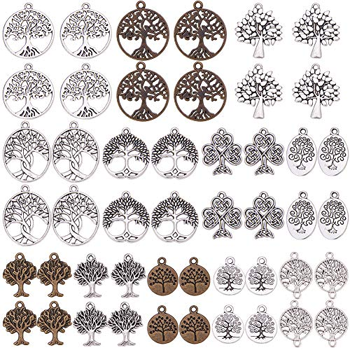 SUNNYCLUE 48Pcs 12 Styles Tree of Life Charms Pendants Connector DIY Antique Silver & Bronze Charms Pendant for Crafting Bracelet Necklace Jewelry Findings Jewelry Making Accessory