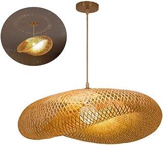 Suspension E27 Lustre Tissage Intérieur Vintage Bambou Naturel Luminaire Plafonnier Hauteur Réglable Suspendue Créations G...