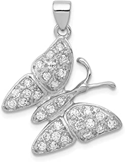 925 Sterling Silver Cubic Zirconia Cz Butterfly Pendant Charm Necklace Animal Fine Jewelry For Women