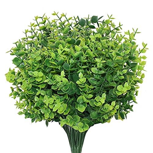 Boic Flores Artificiales Exterior, 10 pcs Resistente a los Rayos UV Flores Falsas Plástico Realista para el Hogar Jardín Patio Granja Decoraciones
