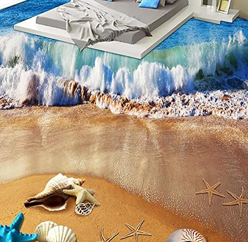3d flooring Custom vinyl wallpaper Beach beach shells 3d floor painting wallpaper living room self-adhesive floor wallpaper-400x280cm