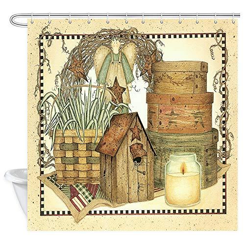 Cortina de ducha vintage rústica decorativa, casa de campo, primitiva para el hogar, cortinas de ducha para baño, tela de poliéster Lakeside Collection cortina de baño 12 piezas ganchos, 180x180cm