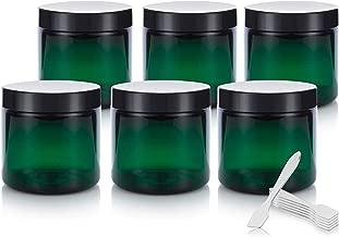 4 oz Green Plastic Jar with Black Foam Lined Air Tight Lid (6 Pack) + Spatulas