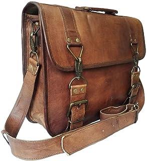 17 Inch Vintage Handmade Leather Messenger Bag for Laptop Briefcase Best Computer Satchel School Distressed Bag (15 inch)