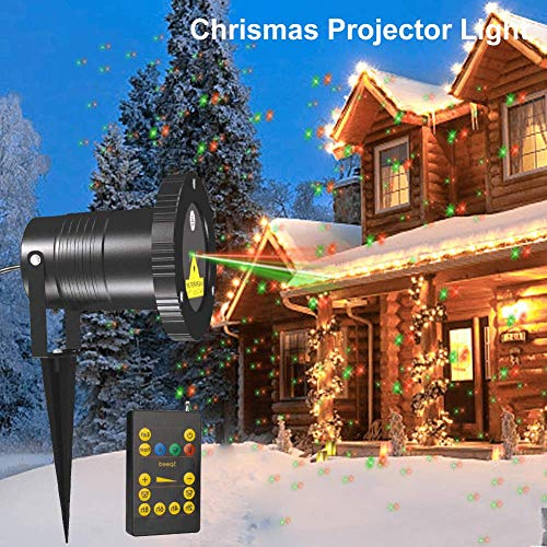 Zitrades Chrismas Projector Light Landscape Projector Lamp Patio Lights Outdoor Party Lights Star Red and Green Night Light Projector IP65 Backyard Garden (Red/Green)