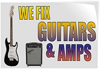 44inx110in 8 Grommets Vinyl Banner Sign We Fix Guitars /& Amps Business Outdoor Marketing Advertising White One Banner Multiple Sizes Available