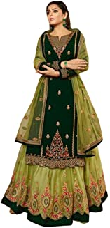 Green Muslim Festive Hindu Diwali Party wear Satin Georgette Lehenga style Salwar Kameez Indian Women Suit Semi-stitch 8651